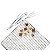 Kaiser Pralinen und Konfekt- Set, 4-teilig Pâtisserie mit 20 Aluförmchen Tauchgabel Tauchspirale Abkühlgitter Rezeptheft