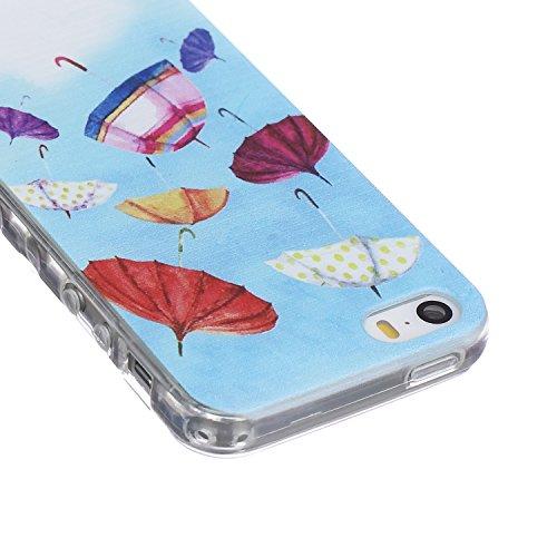 ZeWoo TPU Coque - BF033 / Don't Touch My Phone + Un Ours - pour Apple iPhone 5 5G 5S Étui Housse Protecteur BF045 / Des Parapluie Colorés