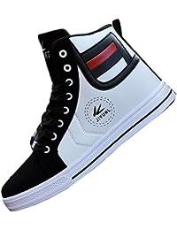 8e3370313649 Gaorui Herren Sneaker High Freizeit Schnürer Sportschuhe Laufschuhe PU Leder  Weiß Schwarz B01H36MROU