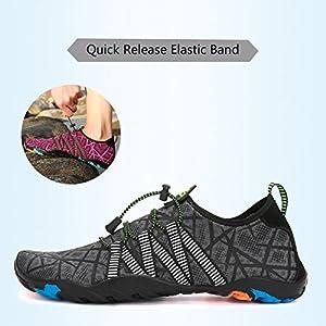 Zapatos de Agua para Buceo Snorkel Surf Piscina Playa Vela Mar Río Aqua Cycling Deportes Acuáticos Calzado de Natación Escarpines para Hombre Mujer,Gris 42