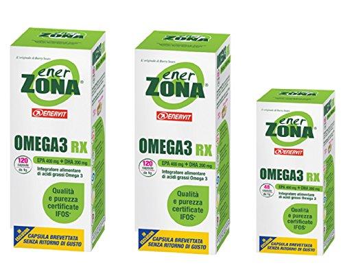 Enervit Enerzona Dieta Zone Integratore Alimentare per il Controllo del Colesterolo e Trigliceridi, Omega 3 RX - 120+120+48 = 288 Capsule da 1 - 51n38CEXUfL
