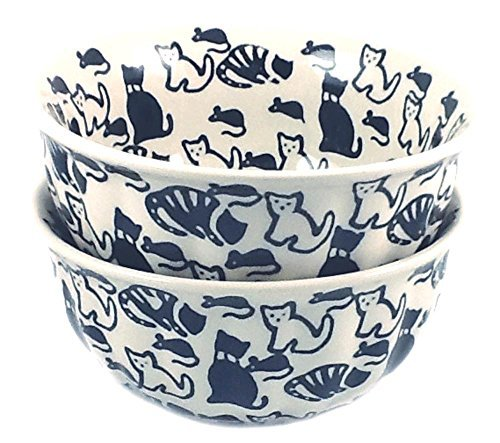 polish-pottery-cereal-bowls-set-of-2-kotc-cats-and-mice-black-and-white-by-poughkeepsie-polish-potte