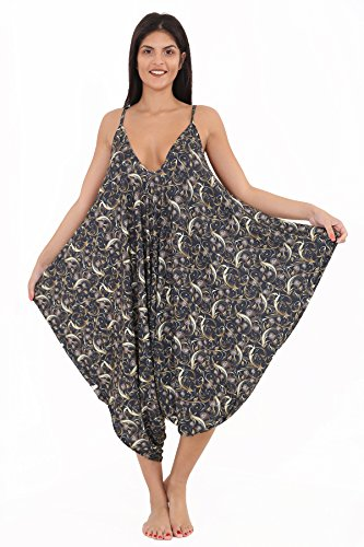 Lul® Damen bedruckt Lagenlook Strappy Baggy Harem Overall Kleid Top Spielanzug Cami 16–30 Gr. 46, Gold Paisley (Cami Paisley)