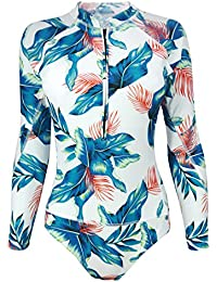 94f788810a976 Futurino Women's Spring/Summer Beach Vacation Long Sleeve Floral Print  Sporty Surfing One Piece Swimsuit