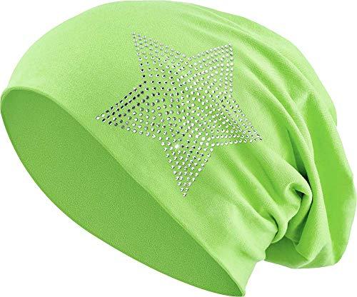 Jersey Baumwolle elastisches Long Slouch Beanie Unisex Herren Damen mit Strass Stern Steinen Mütze Heather in 35 (2) (Light Green) (Light Green Mint)
