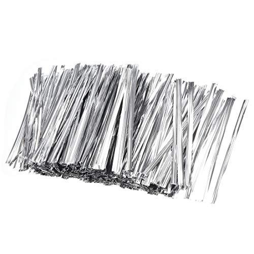 sourcing map 2000Stk. 4 Zoll Metallic Twist Krawatten für Taschen Silber 3 Zoll -