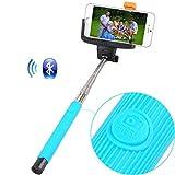 Selfie Stick (blau) Rivero drahtlose Bluetooth-Kamera-Fernauslöser Ausziehbare Universal Selbstporträt mit Hand Selfie-Stock für Asus ZenFone 3 Vergrößern