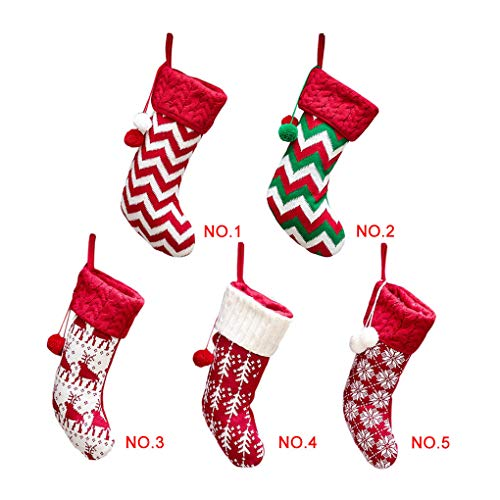 Lorsoul Weihnachtsstrumpf-Kind-Geschenk-Beutel-Socken Stricken Stripes Schneeflocke-Feiertags-Taschen-Dekoration -