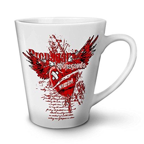 Wellcoda La Propagande Cœur Ancien Tasse de café au Lait, affranto Tasse à café - Poignée Confortable, Impression bilatérale, céramique Solide de