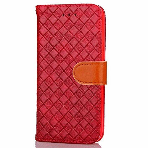 iPhone Case Cover Rasterfeld-spinnender Muster-Kasten PU-lederner Fall mit Karten-Schlitz-Foto-Rahmen-Schlag-Standplatz-Fall-Abdeckung für IPhone 6S ( Color : Brown , Size : IPhone 6 ) Red