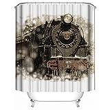 SHENMAHU SHOP Duschvorhang,(Wasserdicht, antibakteriell) - Vintage Old Train Railways Klassische Fotografie,Polyester Gewebe dekorative Badezimmer Bad Vorhänge 36