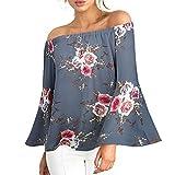 Camisas Sexy Mujer ❤️ Amlaiworld Camiseta floral Impresión casual para mujer Camisetas sin hombro niña verano Blusa con Tops de Manga Largas talla grandes S/M//L/XL/XXL/XXXL (Gris, 3XL)