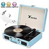 Yiiyaa Plattenspieler Tragbar, Schallplattenspieler Turntable mit eingebautem Lautsprecher, Bluetooth, USB-Anschluss MP3-Wiedergabe, Vinyl-to-MP3 Funktion, 3 Geschwindigkeiten 33/45/78 U/min Blau