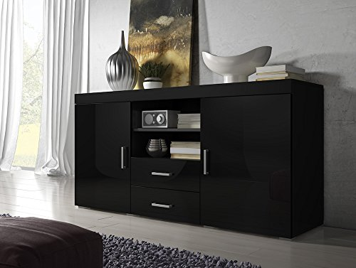 Sideboard Mambo 164cm 2 Doors 2 Drawers Body Mat Black / Front High gloss Black
