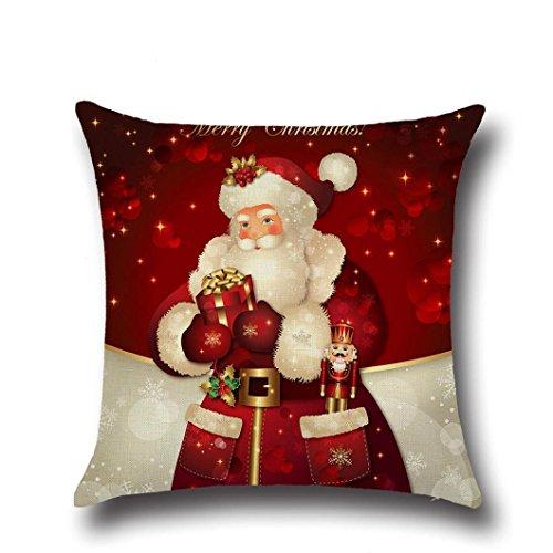 Zolimx Weihnachten Quadrat Wurf Flachs Dekoratives Kissen Kasten (Ohrringe Pailletten Kugel)