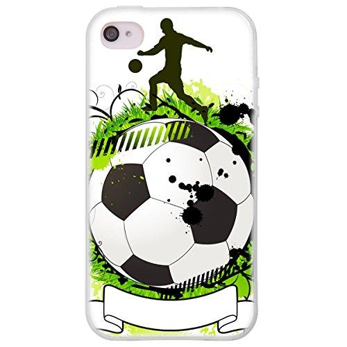 OOH!COLOR 025604_sfo006 Fußball mit Muster weiche Silikon TPU Bumper-Hülle für Apple iPhone 4/4s klar Klar Bumper Iphone 4s Hülle