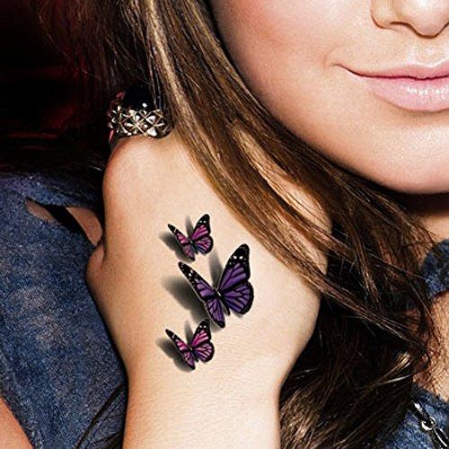 TAFLY Tatuaggio Temporaneo 3d Farfalla Multicolor Sexy Corpo Impermeabile Arte Sticker 5 Fogli
