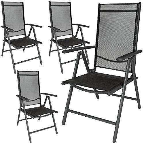 TecTake Aluminium Klappstuhl Gartenstuhl Set verstellbar mit Armlehnen - Diverse Farben und Mengen -...