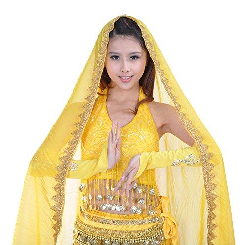 ESHOO Damen Mädchen-Chiffon- Bauchtanz-Kopf-Schal-Schal-Dame Dance Costume (Kostüme Gipsy Dance)