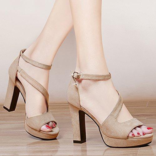 GTVERNH-l'estate di cioccolato 8.5cm sandali femminili impermeabile dura con tutte le scarpe col tacco alto moda scarpe corrispondono tutti,39 Thirty-nine