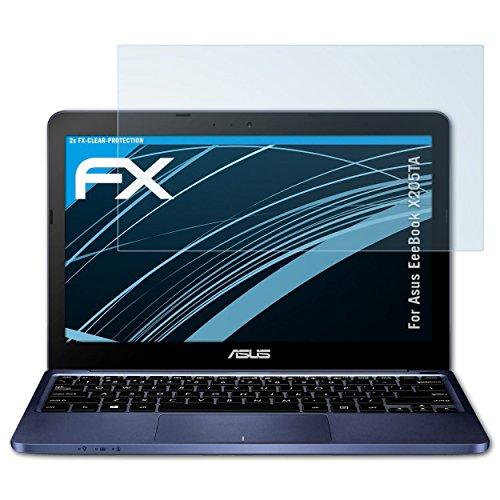 Asus X205 Notebook-pc (atFoliX Displayschutzfolie für Asus EeeBook X205TA Schutzfolie - 2 x FX-Clear kristallklare Folie)