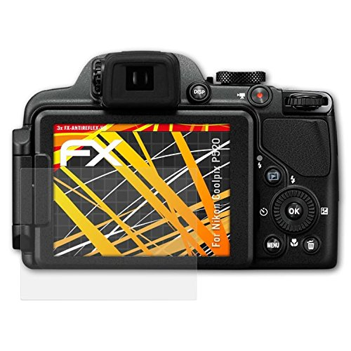 atFoliX Schutzfolie kompatibel mit Nikon Coolpix P520 Displayschutzfolie, HD-Entspiegelung FX Folie (3X)