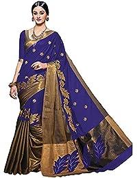 Tagline Women's Cotton Saree With Blouse Piece (Tag60007 ,Blue,Free Size)