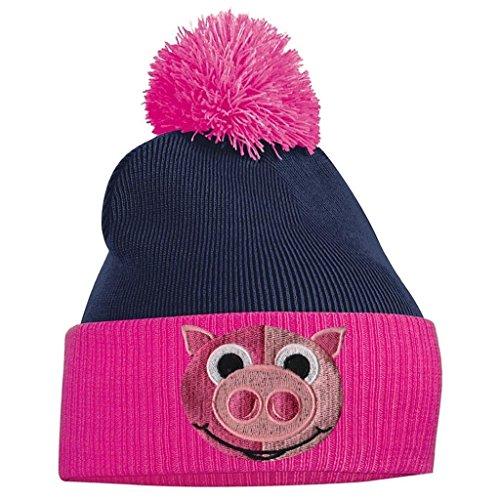 4e1976e795 Bonnet À Pompon Chapeau Pour Femme Porcelet Bonnet A Pompon Brodé Face  Animal En Laine Tricoté