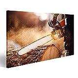 islandburner Bild Bilder auf Leinwand Kettensäge. Kettensäge in Bewegung schneiden Holz. Mann, der Holz mit Säge schneidet. Staub und Bewe Wandbild, Poster, Leinwandbild ITR-1K