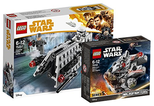 Star Wars Lego Imperial Patrol Battle Pack 75207 juguete + Lego 75193 - Millennium Falcon Micro Fighter, Juguete
