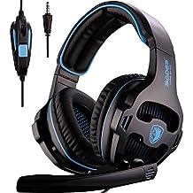 [2016 SADES SA810 Gaming Headset Nuevo lanzado multi-plataforma nuevo Xbox one juego de auriculares PS4], auriculares de juego auriculares para Xbox uno PS4 PC portátil Mac iPad iPod (negro y azul)