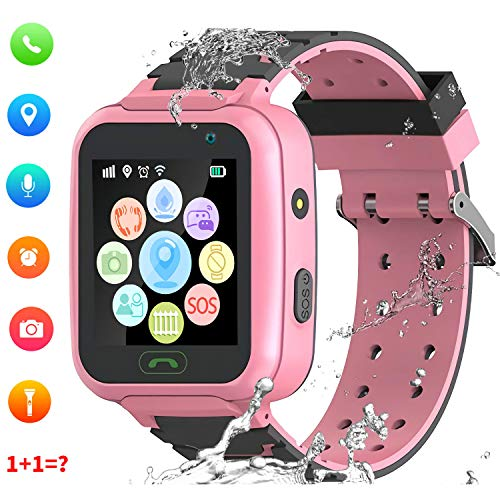 """Montre Smart Watch GPS Tracker pour Enfants - Smartwatches pour Enfants IP67 étanche 1.4""""Ecran Téléphonique Chat Conversation Podomètre Réveil pour Garçons Filles (Rose)"""