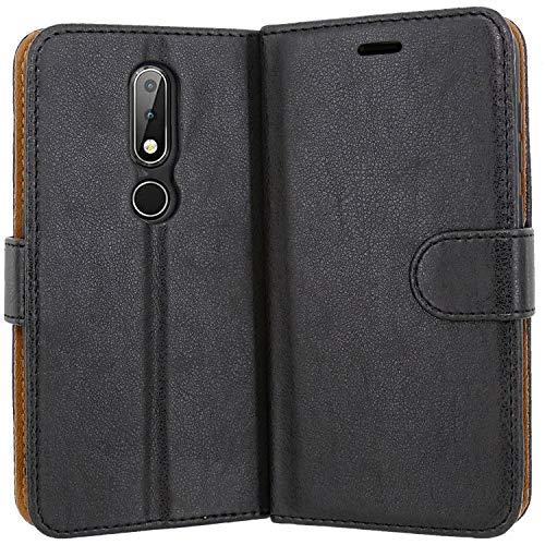 Case Collection Hochwertige Leder hülle für Nokia 6.1 Plus Hülle mit Kreditkarten, Geldfächern & Standfunktion für Nokia 6.1 Plus Hülle