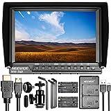 Neewer NW-760 Feldmonitor Ultra-dünne 7 Zoll IPS Bildschirm 1080P voll HD 1920x1200 Unterstützung 4k Eingang HDMI mit 2 Stück Sony NP-F550/570/530 Ersatz-Batterien und USB doppelt-Ladegerät