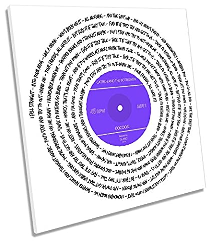 Canvas Geeks - Catfish and the Bottlemen Cocoon Song Lyrics Vinyl - PURPLE - 40cm wide x 40cm high SQUARE CANVAS WALL ART Picture
