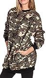 Oversize Pullover Sweatshirt Damen Sweater - VIELE Farben - Pulli Hipster Longshirt Oversized Shirt (M/L, Camouflage)