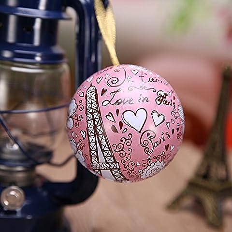XHDWNBM 20 Pcs Continental matrimonio zucchero sfera cartuccia amore frutto di banda stagnata di nozze Hi Contenitore zucchero arti creative e culturali la nostalgia per la Wedding-Hi cartuccia di zucchero di Natale scatola regalo , grandi (diametro 8 cm), Eiffel
