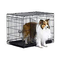 ananjin New World Folding Metal Dog Crate; Single Door & Double Door Dog Crates,Double Door,30-Inch