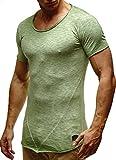 LEIF NELSON Herren T-Shirts Rundhals Basic kurzarm Shirt Top oversize verwaschen crew neck Vintage LN6281-1 S-XXL; Grš§e XL, Verw. Gruen