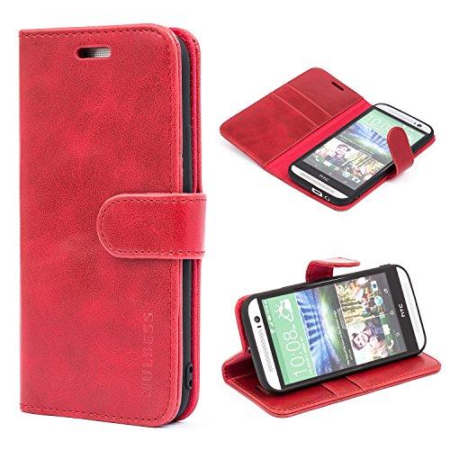 Mulbess Ledertasche im Ständer Book Case / Kartenfach für HTC One M8 Tasche Hülle Leder Etui,Wine Rot