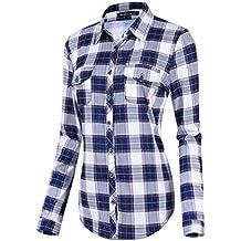 Urban GoCo Damen Karierte Blusen Langarmhemd Karierte Bluse Plaid Shirt e00a57f64d