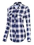 Damen Karierte Blusen Langarmhemd Karierte Bluse Plaid Shirt (S, #3)