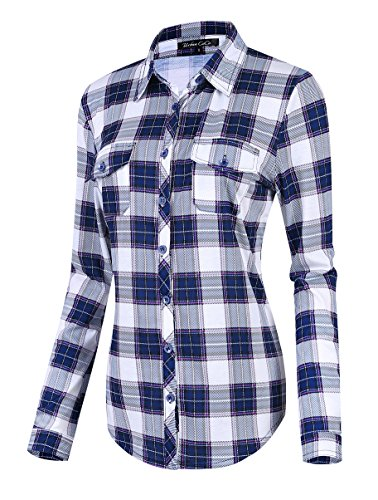 Damen Karierte Blusen Langarmhemd Karierte Bluse Plaid Shirt (L, #3)