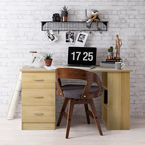 Laura James | Computer-Schreibtisch |3Schubladen | 3Einlegeböden | Home Büro Tisch | Workstation eiche