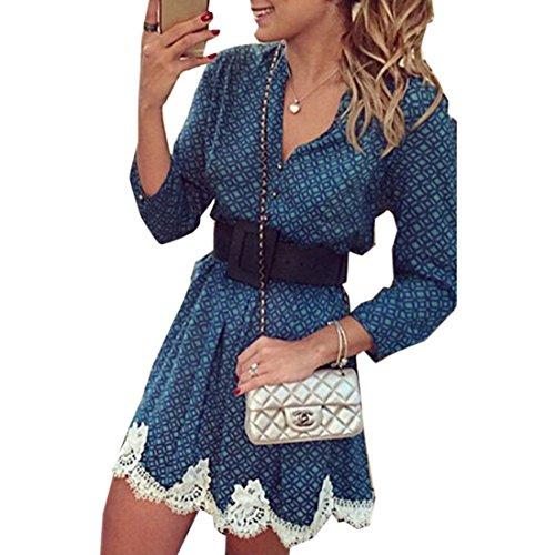 QIYUN.Z Lady Automne Bleu Dentelle Robe Imprimee Melanges Coton Col Rond Casual Bleu