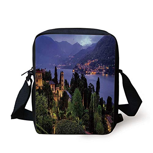 Italian,Lago Di Camo Lake Famous Coastal Village with Aerial View Picturesque Panorama Decorative,Blue Green Print Kids Crossbody Messenger Bag Purse -