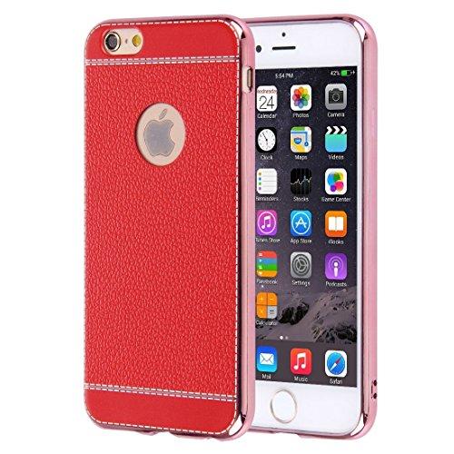 Phone case & Hülle Für iPhone 6 / 6s, 3D Litchi Texture Soft TPU Schutzhülle ( Color : Brown ) Red