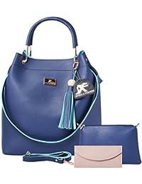 Speed X Fashion Women's Handbag And Shoulder Bag With Sling Bag 3-Combo(SKT-Blue)