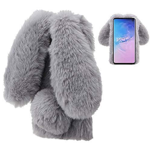 LCHDA für Plüsch Hülle Samsung Galaxy S10 Plus Flauschige Hasen Fell Hülle Handyhülle Mädchen Süße Kaninchen Pelz Niedlich Hasenohren Handytasche Schützend Stoßfest Silikonhülle with Glitzer-Grau -