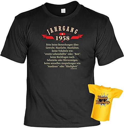 Spaß-Shirt inkl. Mini-Shirt/Geschenk-Set: Jahrgang 1958 - Party-Shirt inkl. Flaschendeko Geburtstagsset Schwarz